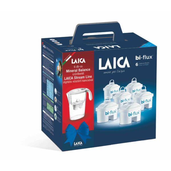 LAICA  6 db-os mineral balance szűrőbetét Laica Stream Line digitális vízszűrő kancsóval ajándék szett