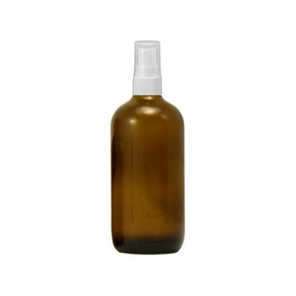 Barna gyógyszertári üveg 100 ml + szórófej (fehér)