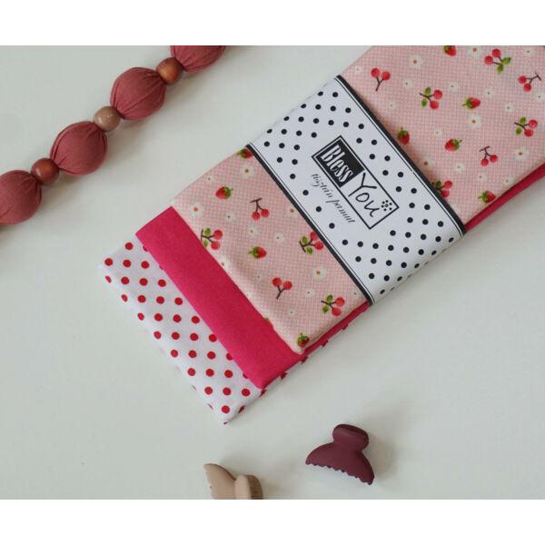Textil zsebkendő M méret eprek és cseresznyék 3 db-os - Bless You