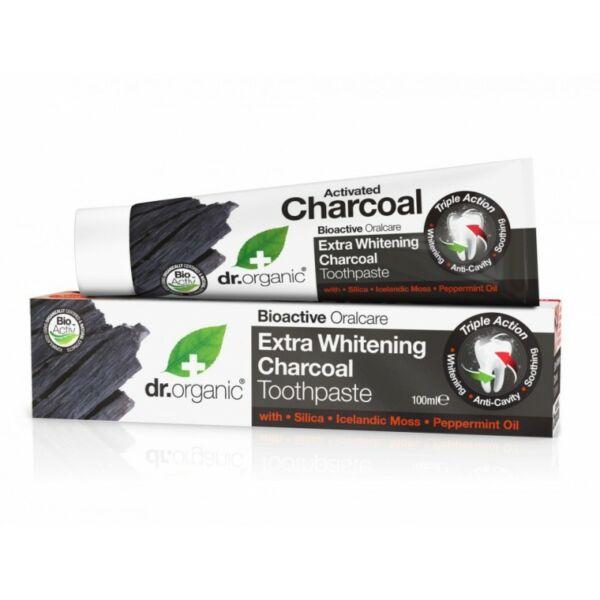 Extra fehérítő fogkrém aktív szénnel 100 ml - Dr. Organic