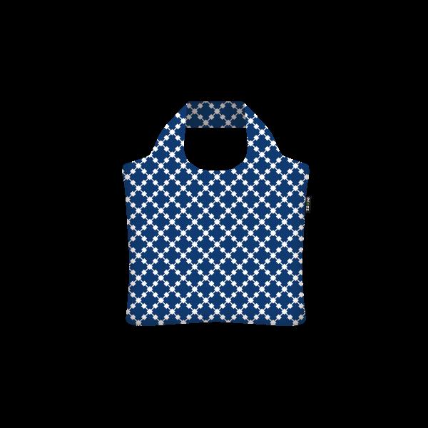 Rövid fülű bevásárlótáska cipzárral Squares Blue - ecozz