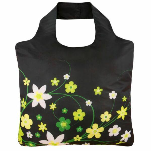 Rövid fülű bevásárlótáska cipzárral Flowers 2 - ecozz