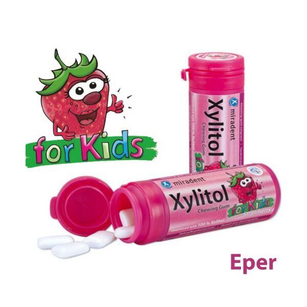 Gyermek rágógumi eper ízű 30 db - Xylitol Kids