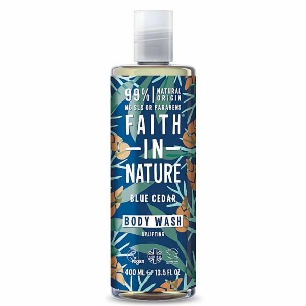 Kék cédrus tusfürdő férfiaknak - Faith in Nature (400 ml)