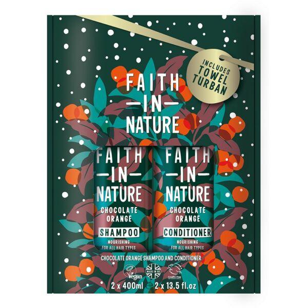 Sampon + hajkondicionáló csomag ajándék turbánnal Csokoládé Narancs 2x400 ml - Faith in Nature