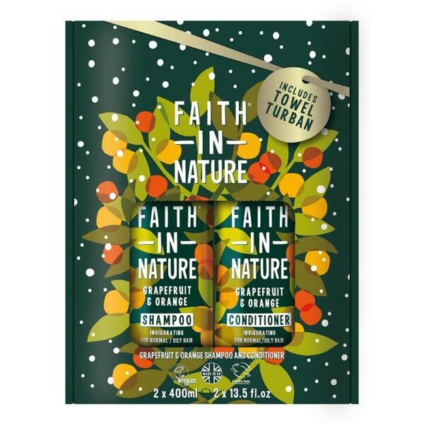 Sampon + hajkondicionáló csomag ajándék turbánnal Grapefruit Narancs 2x400 ml - Faith in Nature