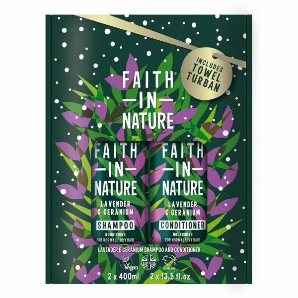 Sampon + hajkondicionáló csomag ajándék turbánnal Levendula Geránium 2x400 ml - Faith in Nature