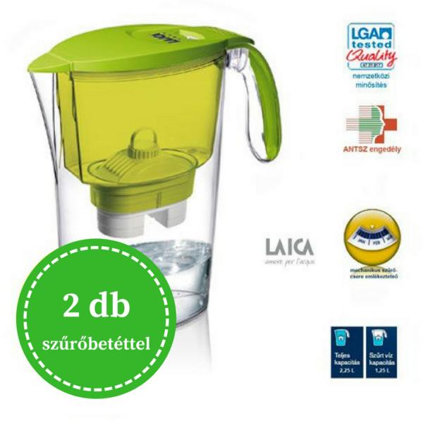 Laica Clear Line vízszűrő kancsó 2 db szűrőbetéttel - zöld