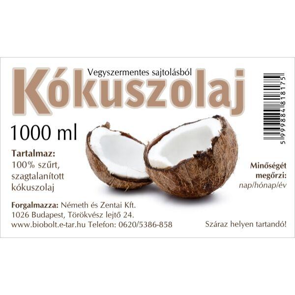 Kókuszolaj (tasakos) 1000 ml - Németh és Zentai