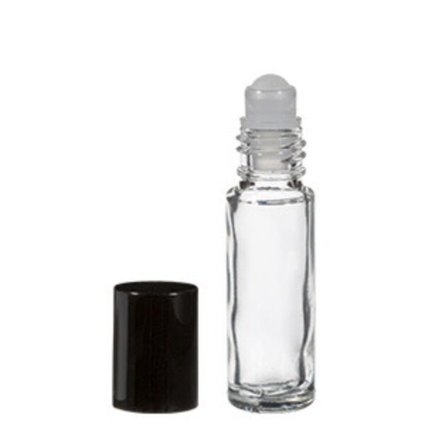 Mini golyós üvegcse fekete kupakkal 5 ml