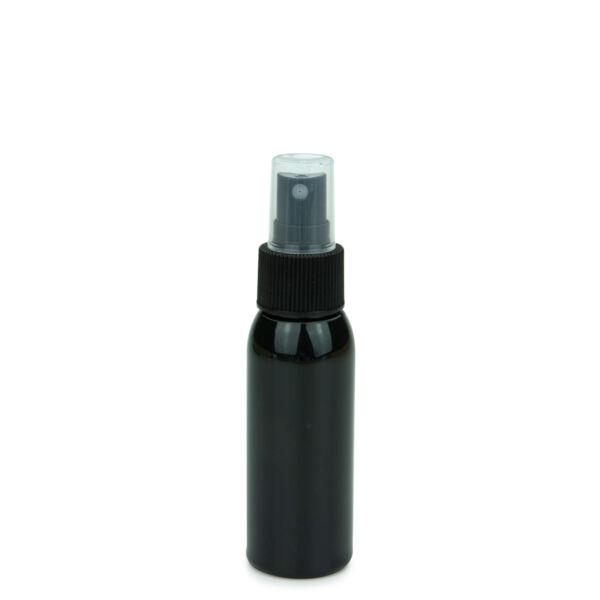 Fekete PET flakon 60 ml, fekete szórófejjel