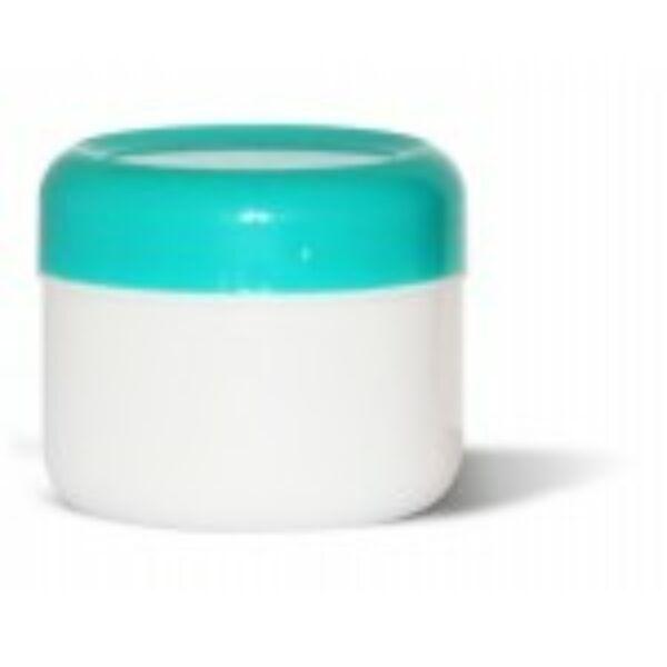 Kozmetikai tégely PP fehér-zöld 75 ml