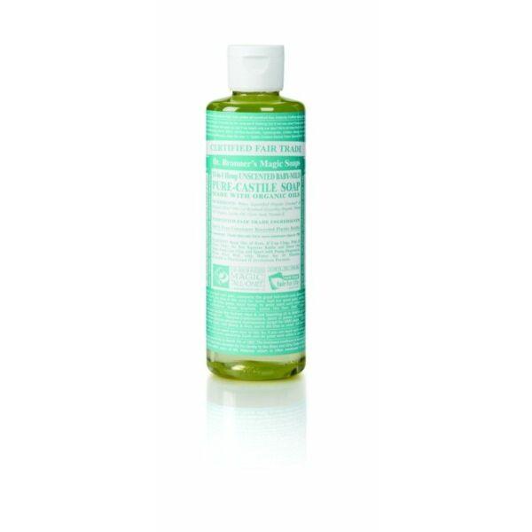 Folyékony szappan és tusfürdő illatmentes bio 240 ml - Dr. Bronners