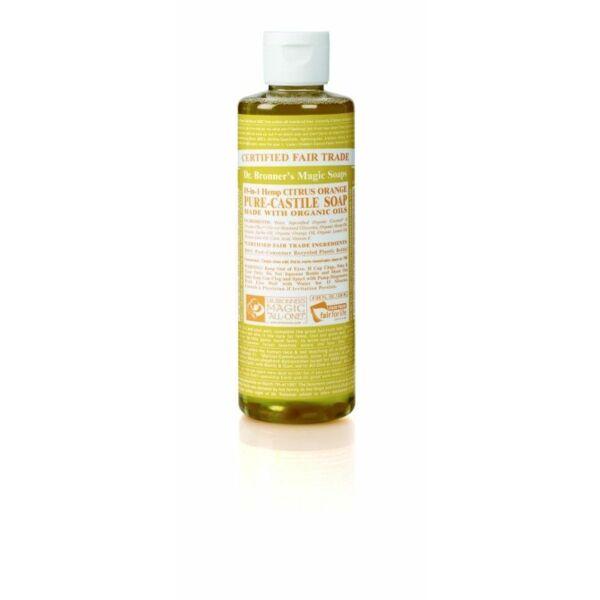 Folyékony szappan és tusfürdő citrus-narancs bio 240 ml - Dr. Bronners