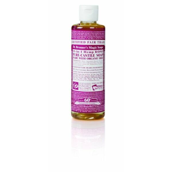 Folyékony szappan és tusfürdő rózsa bio 240 ml - Dr. Bronners