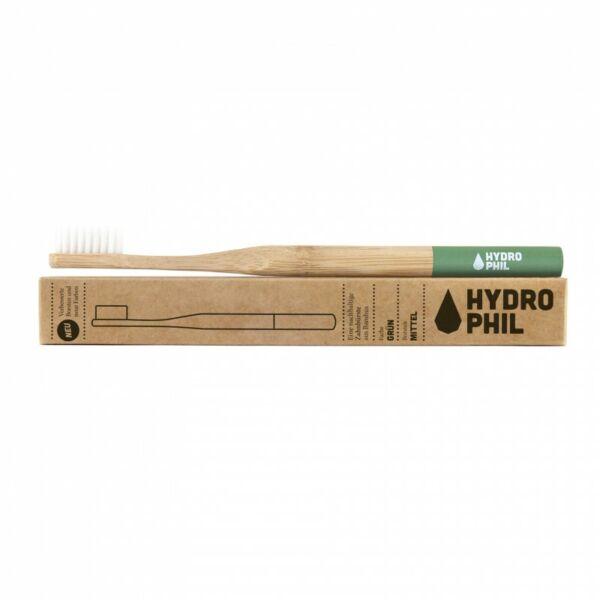 Bambusz fogkefe közepes sörtével zöld - Hydrophil