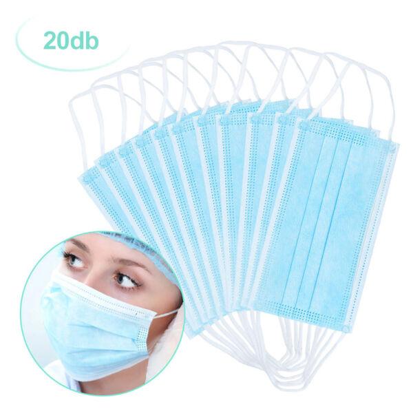 Orvosi légzésvédő szájmaszk (20 darabos)