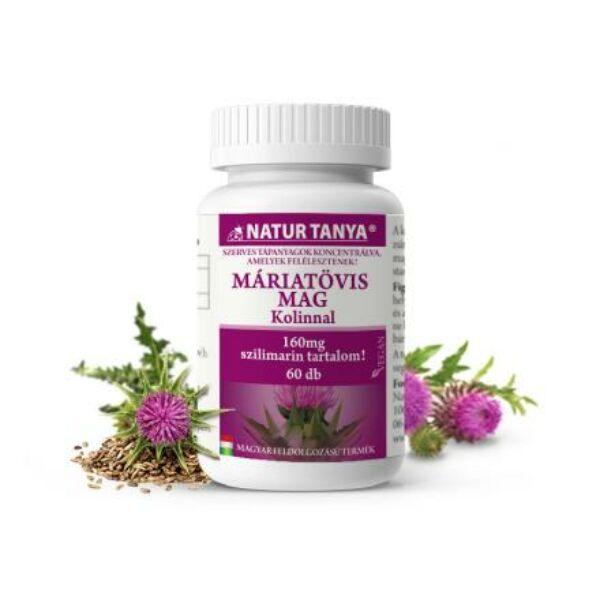Natur Tanya® Máriatövis mag kivonat kolinnal. 160mg szilimaron tartalommal! 60db