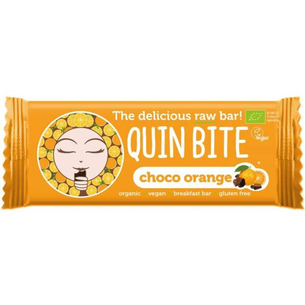 Quin Bite bio nyers szelet csoki-narancs 30 g