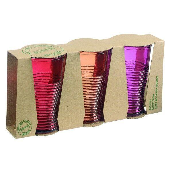 Üvegpohár 3 db os (rózsaszín, narancs, lila)