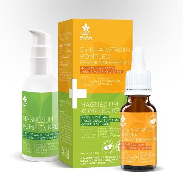D3-K2-A vitamin komplex 20 ml + Magnézium komplex krém 100 ml - Wise Tree Naturals