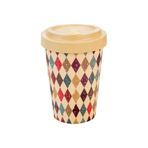 Bambusz kávéspohár műanyag tetővel 400 ml retro diamonds - Woodway