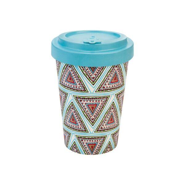 Bambusz kávéspohár műanyag tetővel 400 ml aztec blue - Woodway